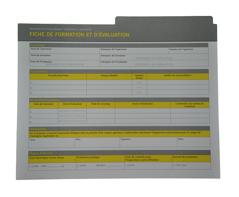 Rough Terrain Forklift Compliance Package French Op Card