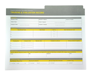 Loader Backhoe Compliance Package Record Sheet